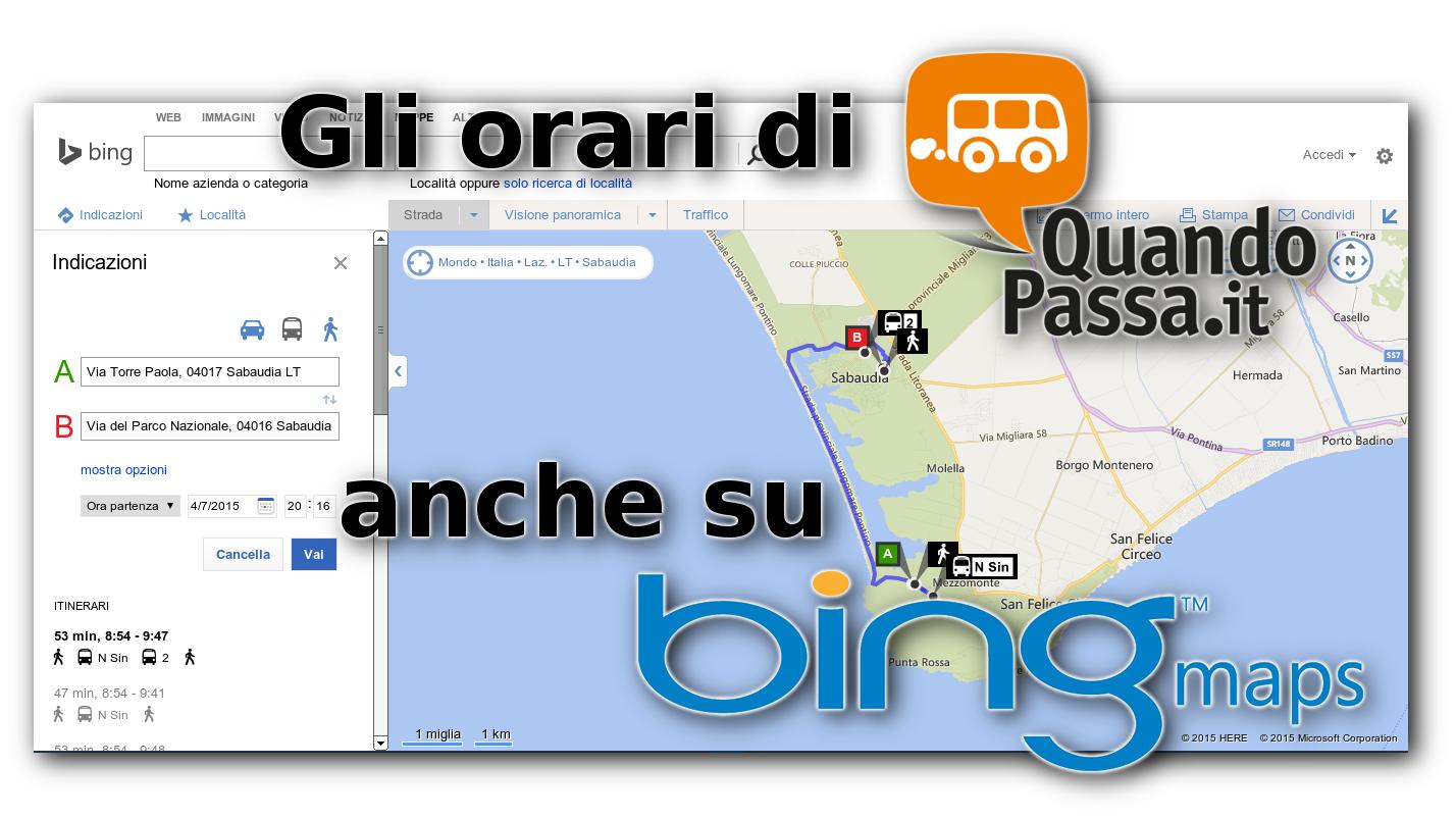 Esportazione di percorsi linee bus, orari e fermate su Bing Maps