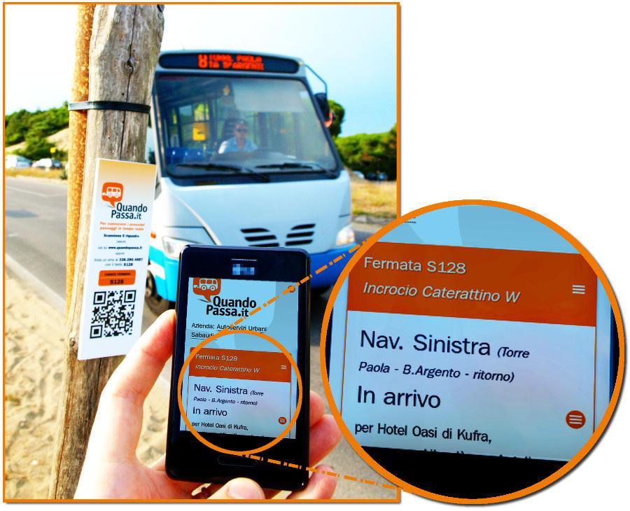 Fotografato l'adesivo, la app di QuandoPassa dava l'autobus in arrivo, e poco dopo eccolo!
