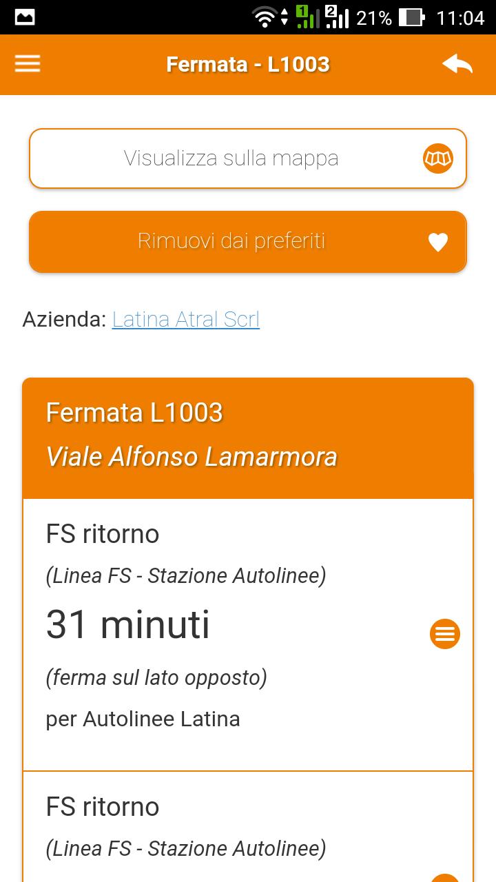 Gli arrivi del bus alla fermata a Latina in tempo reale