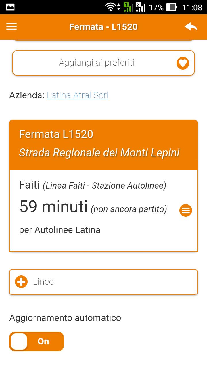 Aggiornamento automatico dei tempi di arrivo dell'autobus